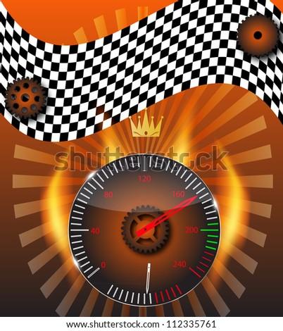 Checkered flag, speedometer. Vector Illustration. - stock vector