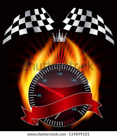 Checkered flag, speedometer. Vector Illustration. EPS 10. - stock vector