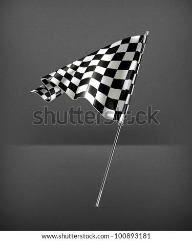 Checkered flag, vector - stock vector
