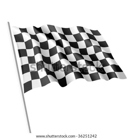 Checkered flag. Vector. - stock vector