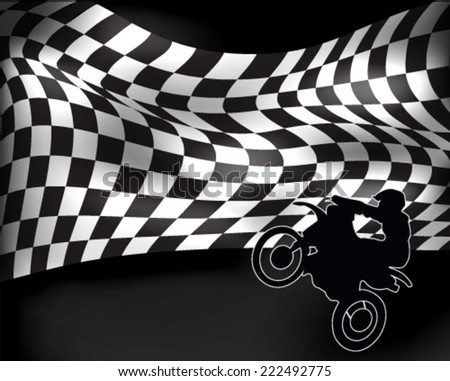 checkered flag with wheelie motorbike and rider - stock vector