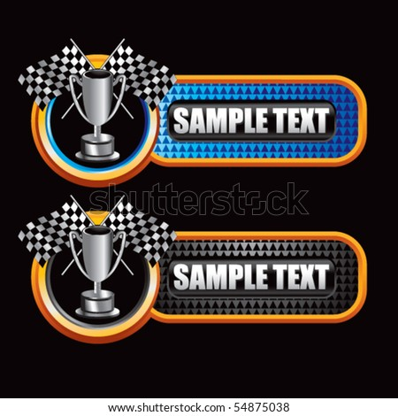 checkered flags and trophy checkered tabs - stock vector