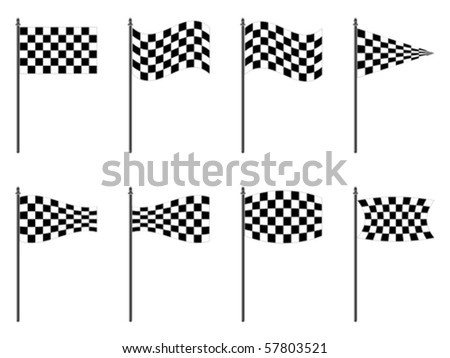 checkered flags collection against white background, abstract vector art illustration - stock vector