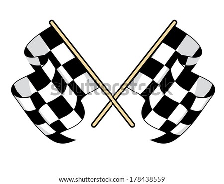 Checkered flags icon for motorsports design with crossed black and white flags waving in the breeze - stock vector