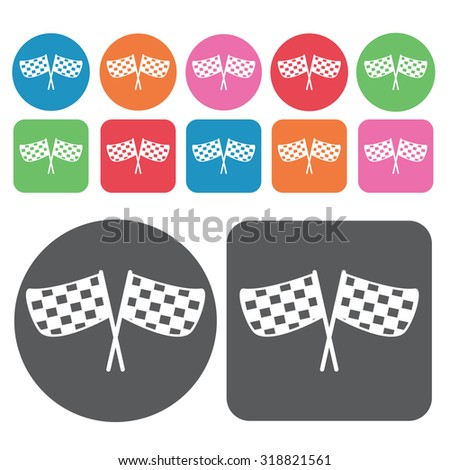 checkered flags icons set. Vector Illustration eps10.