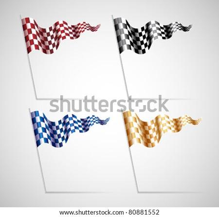 Checkered Flags Set - stock vector