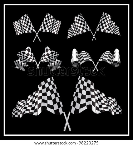 Checkered Flags set illustration on black background. - stock vector