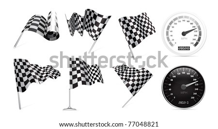 Checkered Flags set with speedometer illustration on white background. - stock vector