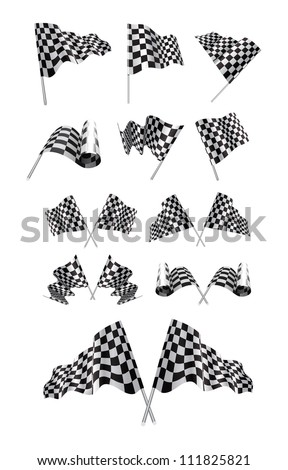Checkered Flags Vector set illustration on white background. - stock vector