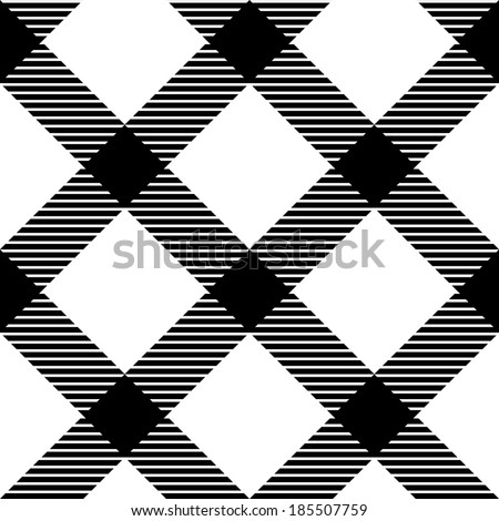 Checkered gingham fabric seamless pattern in black and white, vector - stock vector