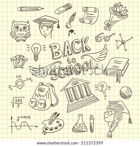 Checkered paper with doodle icons. Set icons - Back to school
