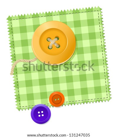 checkered patch with three buttons - stock vector