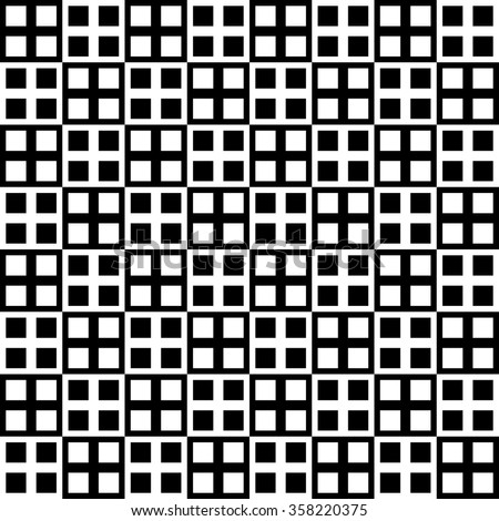 Checkered pattern with alternating black, white squares. Monochrome background.