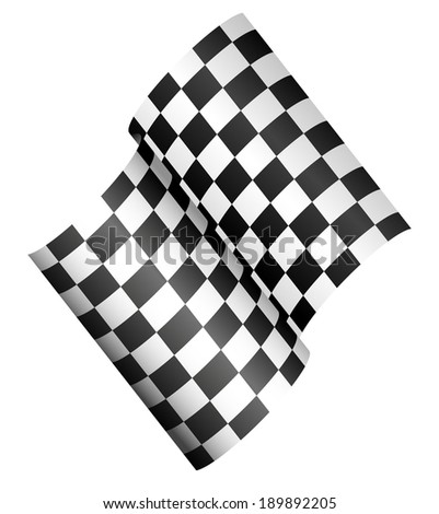 Checkered race flag. Folding in 3d, shaded - stock vector