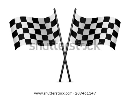 Checkered Racing Flags on a white background