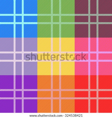 Checkered rainbow colors vector pattern. Retro textile design collection. Backgrounds & textures shop.  - stock vector