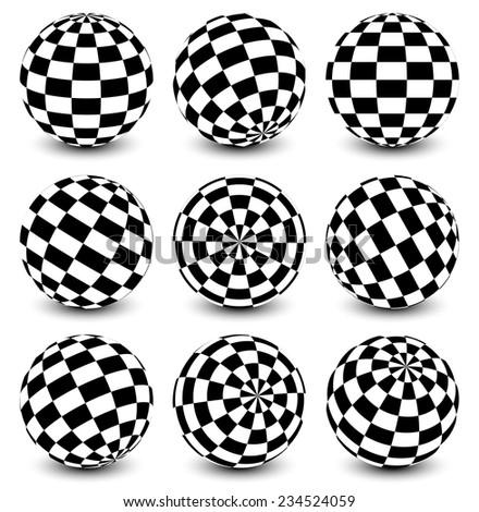 Checkered spheres - stock vector
