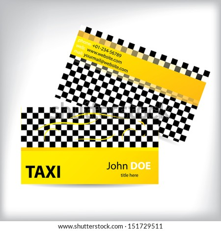 Checkered taxi business card design ideal for taxi drivers