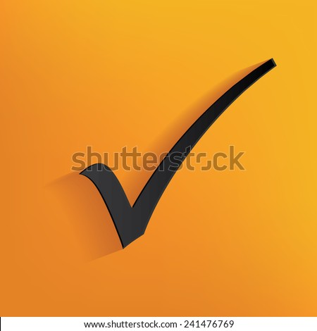 Checking mark design on yellow background, clean vector - stock vector