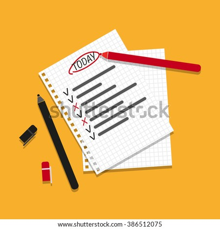 Checking on To Do List. Business Concept. Check The Checklist Cartoon. Top View - stock vector