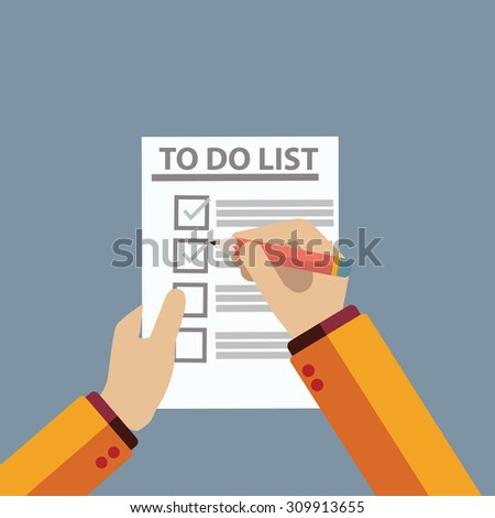 Checking on To Do List. Top View - stock vector