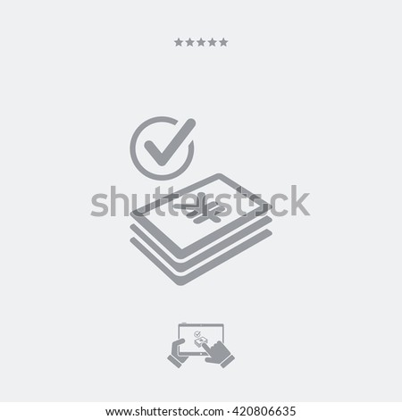 Checking payment icon - Euro - stock vector
