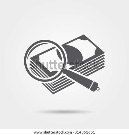 Checking the authenticity of money - vector icon - stock vector
