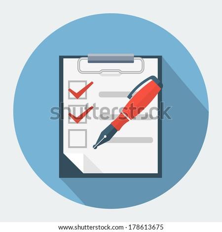 Checklist and nib pen - stock vector
