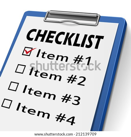 checklist clipboard with check boxes marked for item one, two, three and four - stock vector