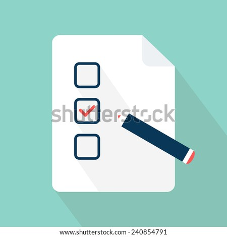 Checklist. Document, blank, form icon with tick sign. Flat style. Vector illustration - stock vector