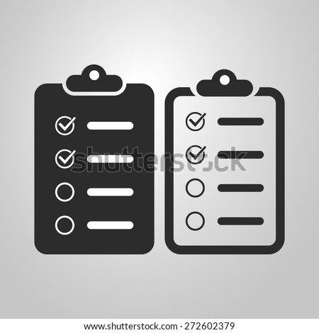 Checklist Icon Design - Black and White and Linear Version - stock vector