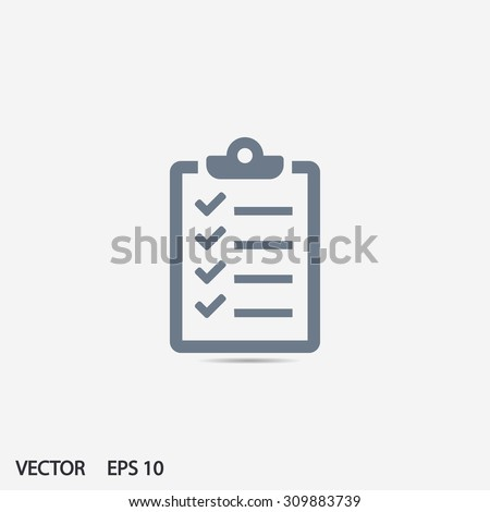 Checklist icon vector eps 10 and jpg. Flat style for web sites. Checklist  icon on a gray background - stock vector