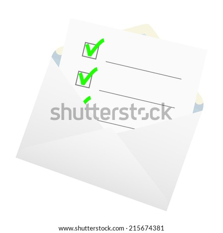 Checklist in an envelope. The vector illustration. - stock vector