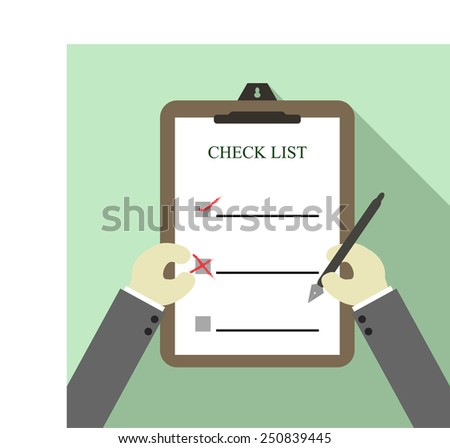 checklist on clipboard and writing signature - stock vector