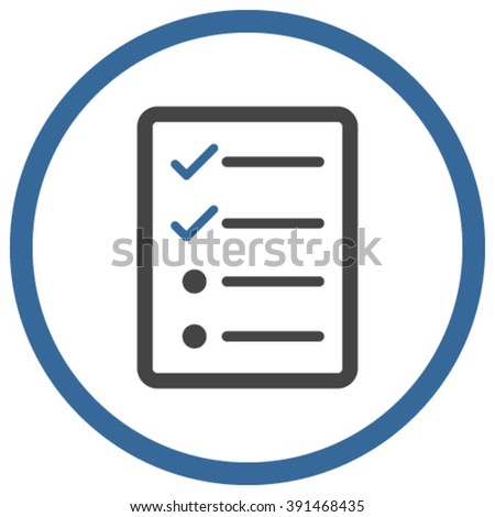 Checklist Page vector icon. Style is bicolor flat rounded iconic symbol, checklist page icon is drawn with cobalt and gray colors on a white background. - stock vector