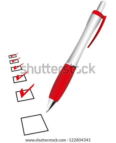 checklist & pen Vector - stock vector