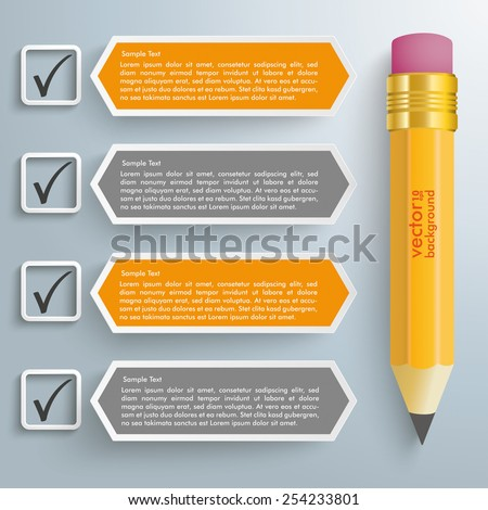 Checklist with pencil on the gray background. Eps 10 vector file. - stock vector