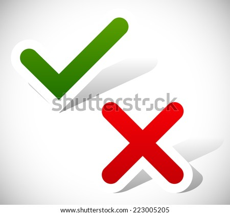 Checkmark and cross - stock vector