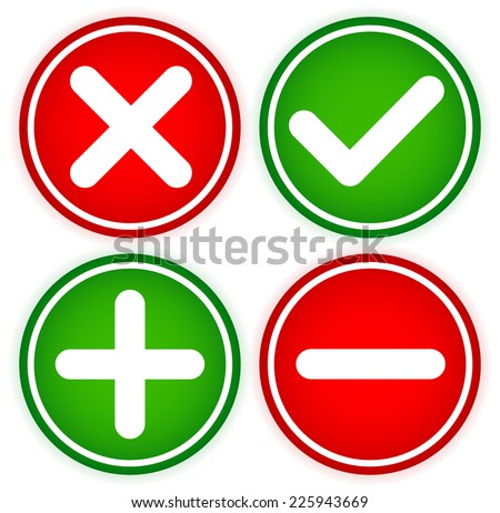 Checkmark and cross and Plus and minus in circles - stock vector