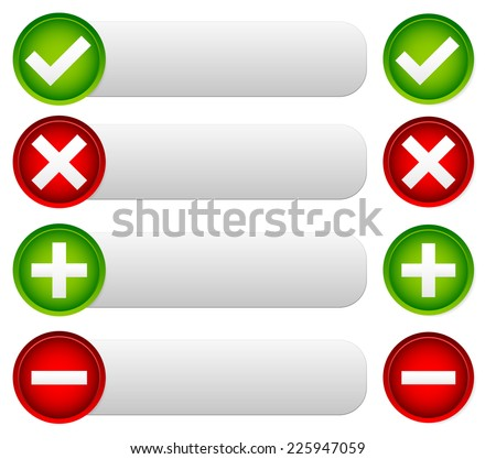 Checkmark, cross and add, remove banners, buttons. (Include, exclude..) - stock vector