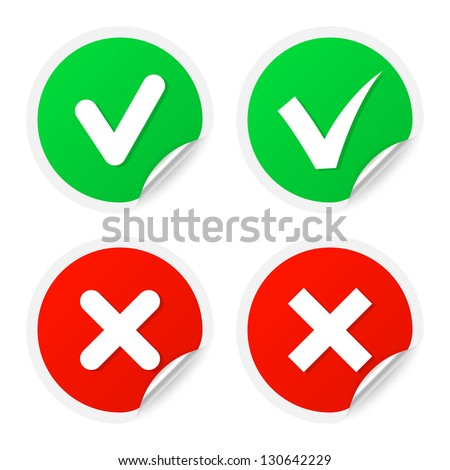 Checkmark labels. Vector illustration. - stock vector