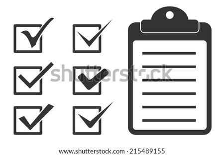 checkmark tick and checklist icon - stock vector