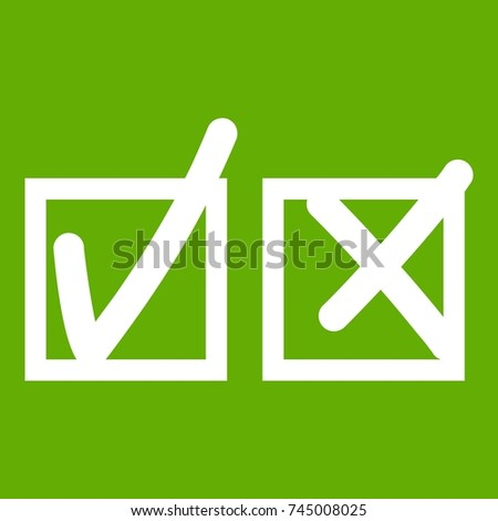 Checkmark to accept and refusal icon white isolated on green background. Vector illustration