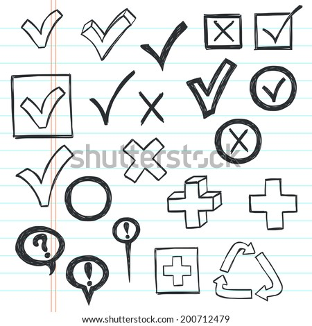 Checkmarks and checkboxes drawn in a doodled style on lined notebook paper. - stock vector