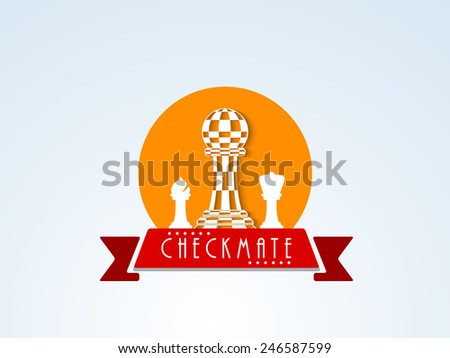 Checkmate sticker, tag or label with chess figures and ribbon on stylish background. - stock vector