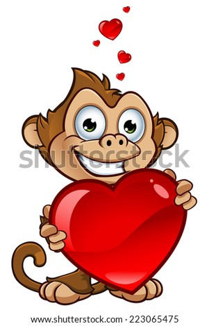Cheeky Monkey Character - Holding Love Heart - stock vector