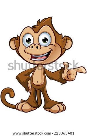 Cheeky Monkey Character - Pointing - stock vector