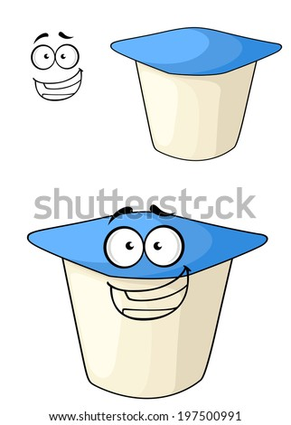 Cheeky white and blue cartoon yoghurt with a happy smile with a second plain variation with a separate smiling face element, isolated on white - stock vector
