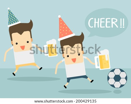 cheer football with beer vector - stock vector