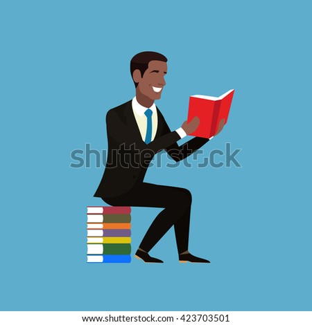 Cheerful African American in a brown suit and blue tie is with a book in his hands. Student sitting on a pile of multicolored books. Businessman sitting and holding an open book in his hands. Vector - stock vector